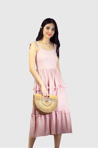 Arissa Tie Knot Dress in Pink