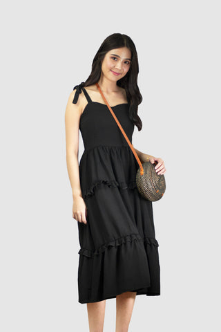 Arissa Tie Knot Dress in Black