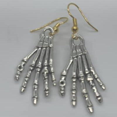 Small Skeleton Hand Earrings