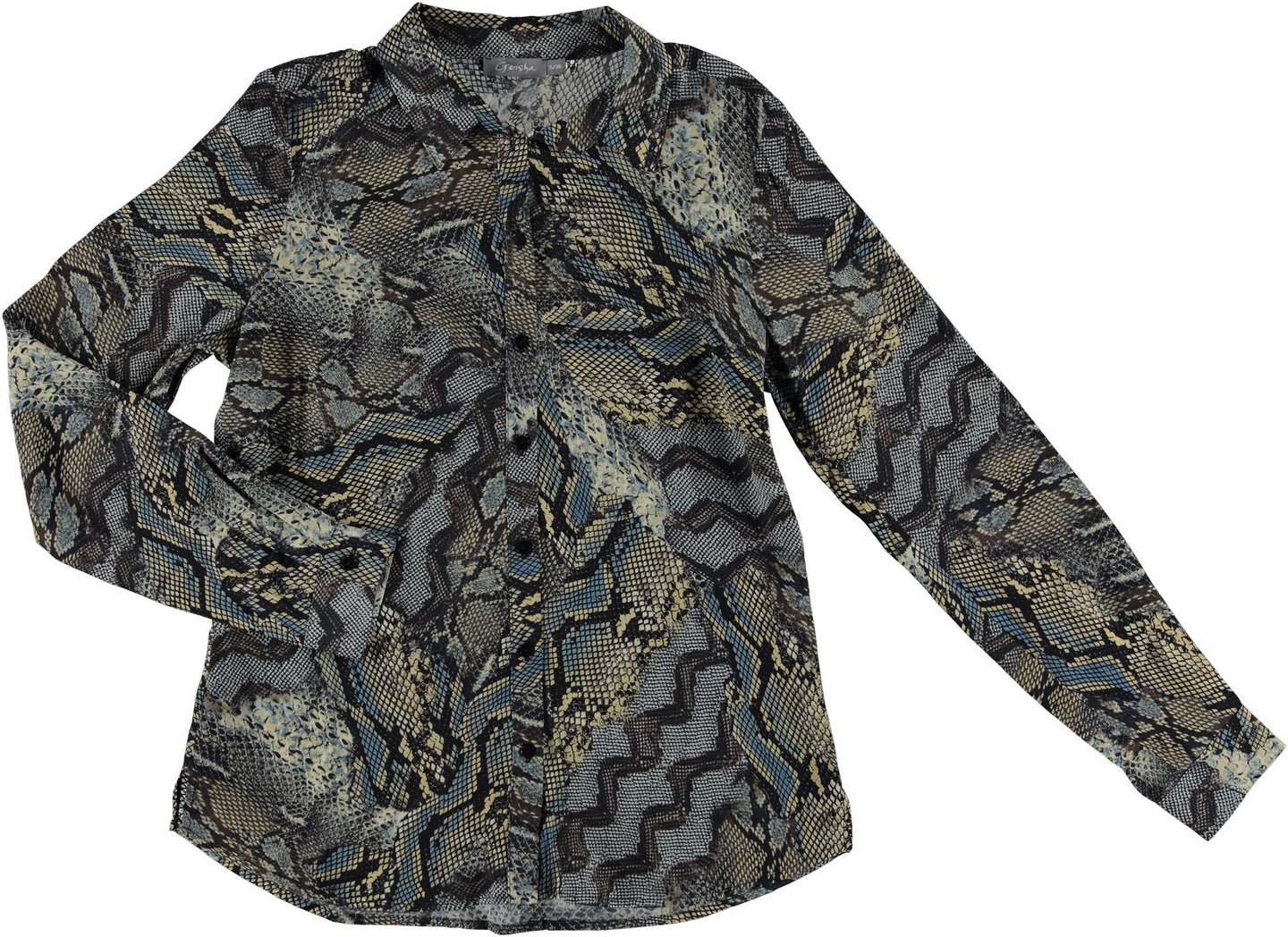 GEISHA - Blouse AOP snake - 000999 - black/brown combi