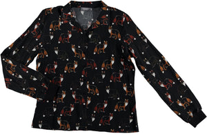 GEISHA - Blouse aop fox l/s - 000999 - black/brique combi