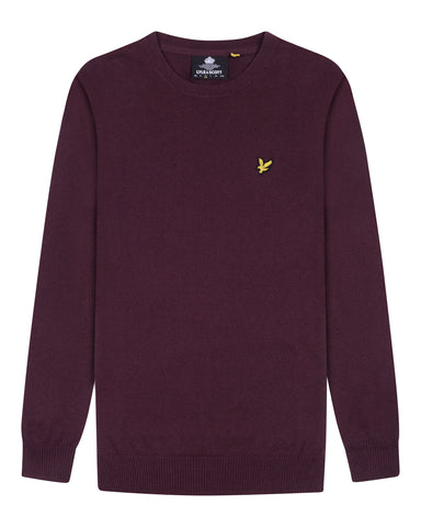 lyle & scott - CREW NECK COTTON MERINO JUMPER - ROOD