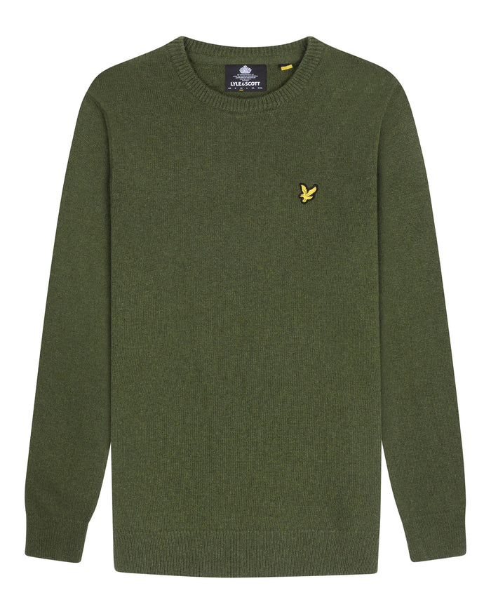 lyle & scott - CREW NECK LAMBSWOOL BLEND JUMPER - GROEN