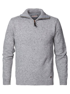 PETROL - Knitwear Collar - Light Grey Melee_9038