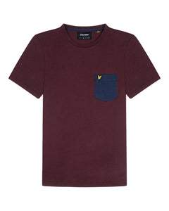 lyle & scott - CONTRAST POCKET T-SHIRT - Z501 BURGUNDY/ NAVY