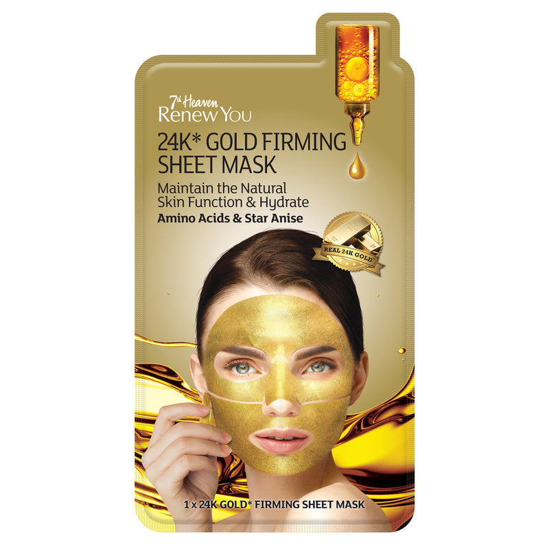 Renew You 24K Gold Firming Sheet Face Mask Skincare - 2 Pack 7th Heaven
