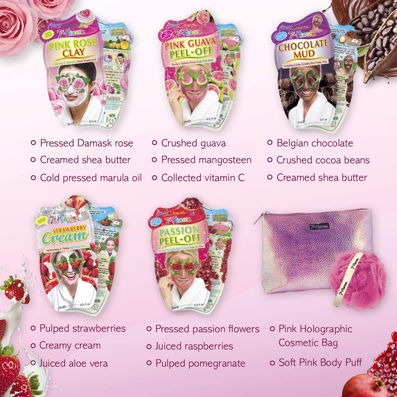 Pretty In Pink Face Masks Skincare Gift Set 7th Heaven