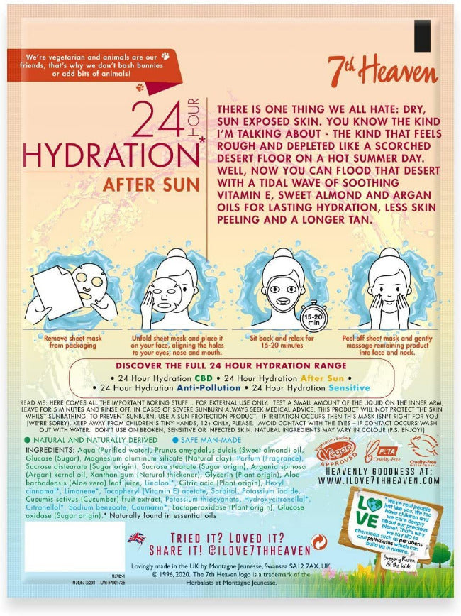 24 Hour Hydration After Sun Vegan Bamboo Sheet Mask 7th Heaven