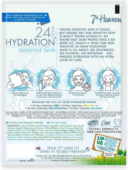 24 Hour Hydration for Sensitive Skin Vegan Bamboo Sheet Mask 7th Heaven