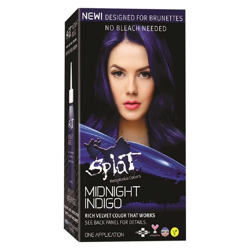Splat At Home Hair Dye For Brunettes Midnight Complete Kit Indigo Darkest Violet