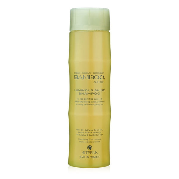 Alterna Bamboo Luminous Shine Shampoo cleanses and moisturizes hair to restore strength and healthy radiance