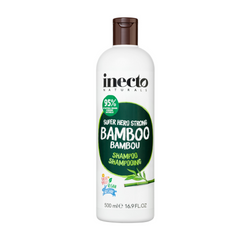Inecto Naturals Bamboo Shampoo (500mL)  SUPER HERO STRONG BAMBOO SHAMPOO - It's time to BAMBOO-M your hair! Infused with sustainably sourced Bamboo extract, our Super Hero Strong Bamboo Shampoo is perfect for adding strength and lustre to hair