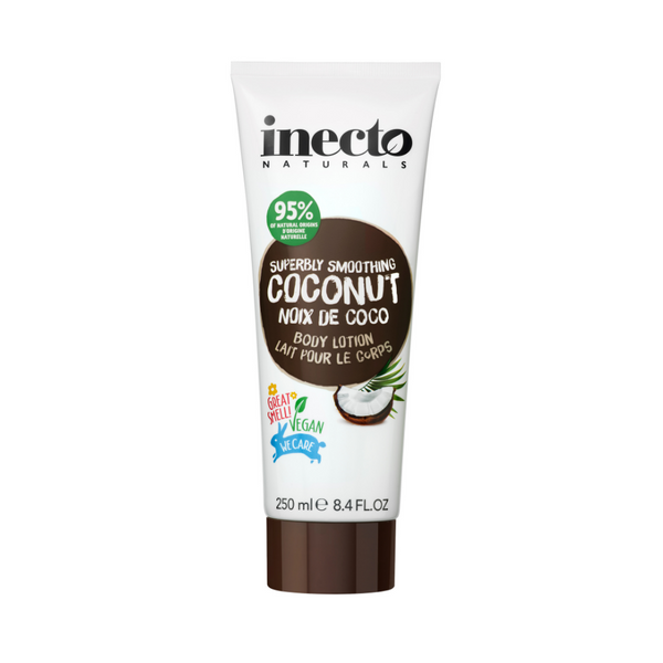 Inecto Smoothing  Coconut Body Lotion (250ml)  Take your skin to a tropical paradise. With tropical Papaya Oil, and Organic Coconut Oil, this body lotion is easily absorbed and will give your skin the moisture boost it deserves. All with a deliciously tropical fragrance too!
