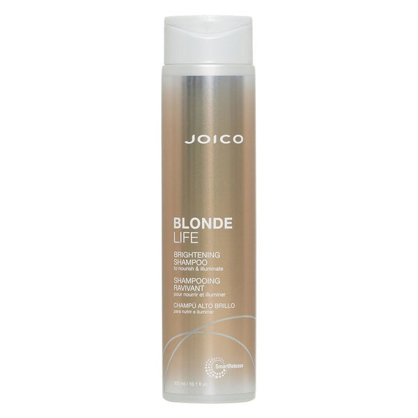 Joico Blonde Life Brightening Shampoo - our extraordinary Brightening Shampoo, free-from SLE/SLES Sulfates produces a luscious lather that lifts away dirt and oil. After a good rinse, your comb will slide smoothly and easily through soft, damp, clean-as-a-whistle strands.