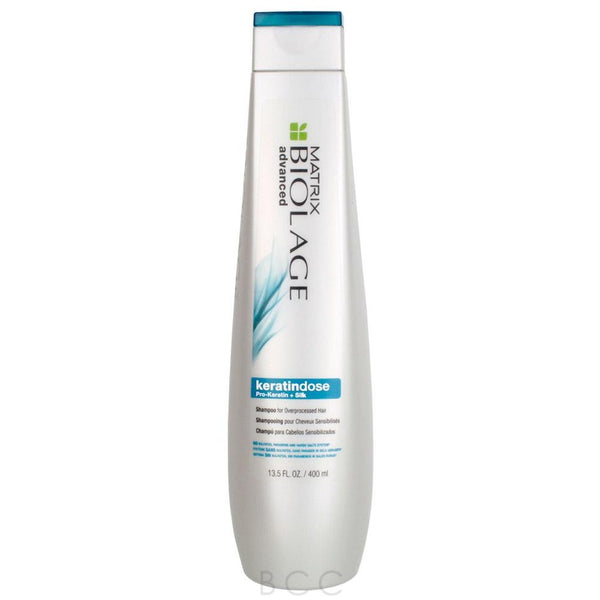 Matrix Biolage Advanced Keratindose Shampoo  Damaged, over-processed hair can be brittle, dull and lifeless. Formulated with Pro-Keratin and silk, Matrix Biolage Advanced Keratindose Shampoo provides targeted reinforcement and moisture balance while helping to prevent future breakage for damaged, over-processed, color-treated, weak or fragile hair.