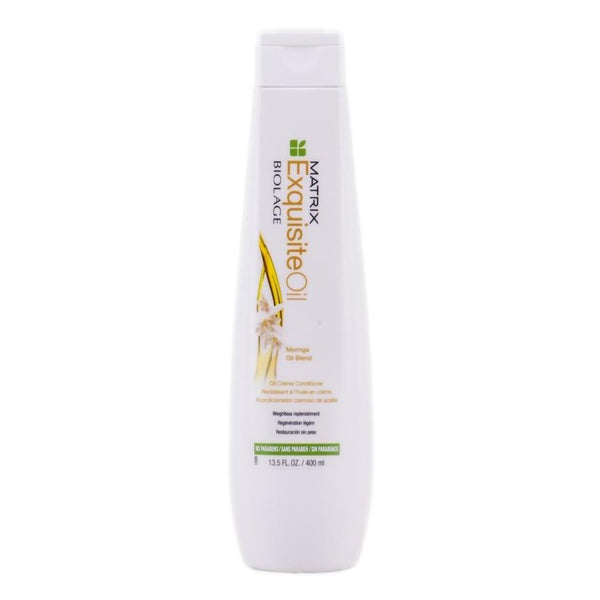 Matrix Biolage Exquisite Oil Conditioner  Oil infused haircare provides many benefits to all types of hair. Matrix Biolage Exquisite Oil Conditioner detangles with weightless conditioning. Helps restore shine for vibrancy, illuminated hair. Adds shine, manageability and control. Paraben-free formula is also suitable for colour-treated hair. Replenish with exquisite shine and weightless nourishmentable shine.