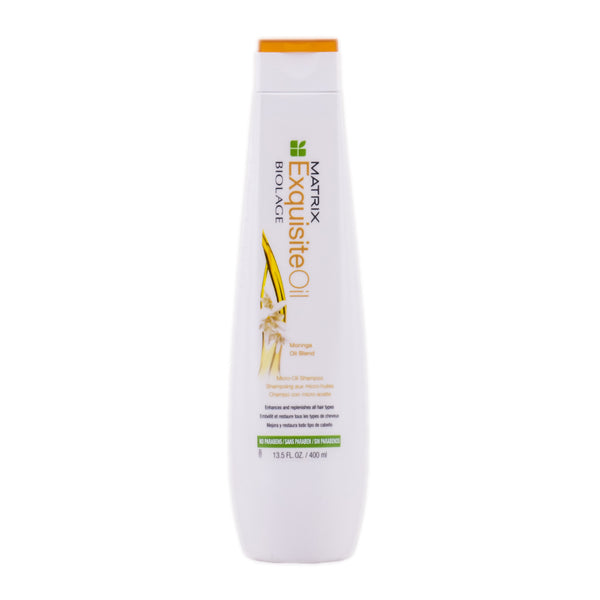 Matrix Biolage Exquisite Oil Shampoo  Ensure hair is healthy and nourished with the Matrix Biolage ExquisiteOil Micro-Oil Shampoo; a lightweight cleanser that treats hair to a hair-loving blend of luxurious oils.  Ideal for all hair types, the shampoo utilizes Moringa, Macadamia, Almond and Coconut oils to cleanse and replenish locks. From the first use, the shampoo leaves hair smooth and soft with an enviable shine.