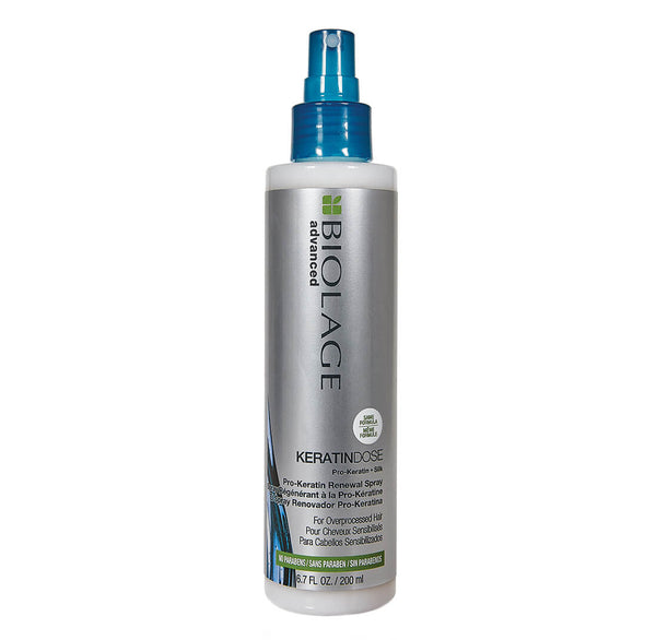 Matrix Biolage Keratindose Renewal Spray   Damaged, over-processed hair lacks softness and shine and is prone to breakage. Formulated with Pro-Keratin and Silk, Matrix Biolage Advanced Keratindose anti-frizz spray for damaged hair provides targeted reinforcement and moisture balance while helping to prevent future breakage for damaged, over-processed, colour-treated, weak or fragile hair.