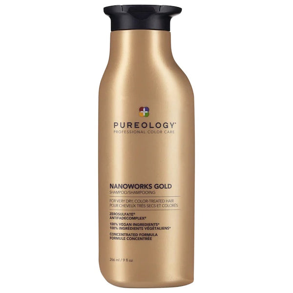 Pureology Nanoworks Gold Shampoo helps with dryness, shine and colour protection. 266ml/9oz