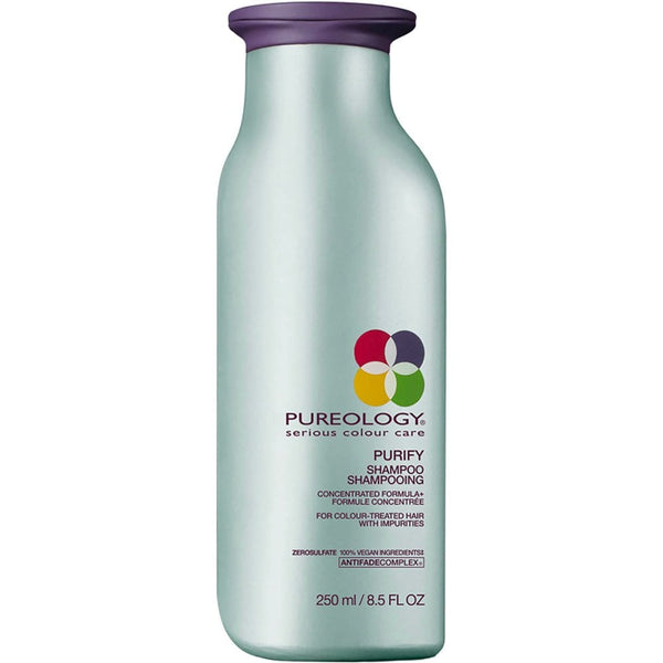 Pureology Purify Shampoo is a gentle, deep-cleansing shampoo for use on colour-treated hair. 250ml/8,5oz