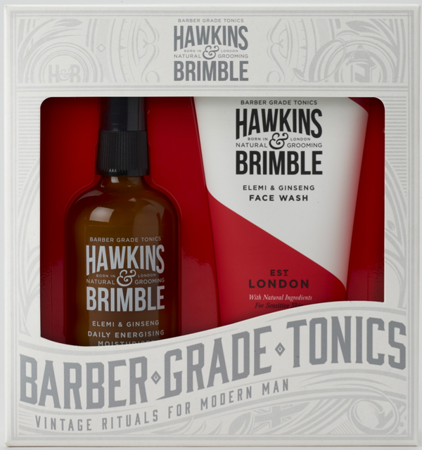 The Hawkins & Brimble Facial Gift Set includes Daily Energising Moisturiser and Face Wash