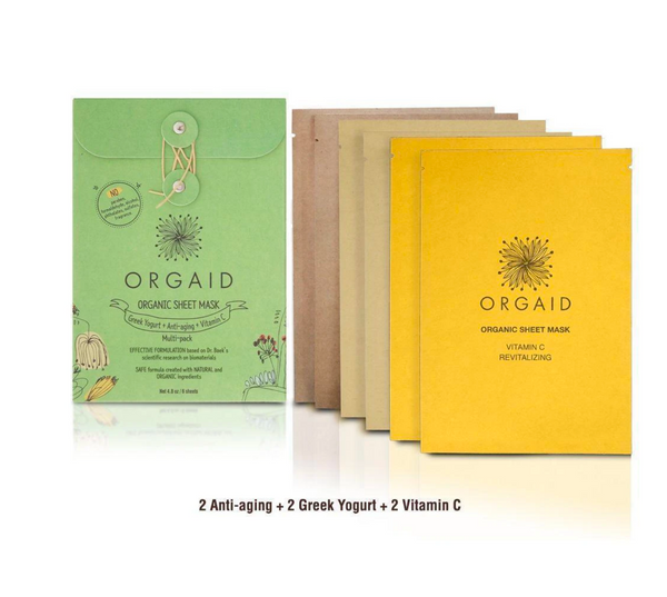 Orgaid Organic Sheet Face Masks Skincare Greek Yogurt+ Anti Aging + Vitamin C