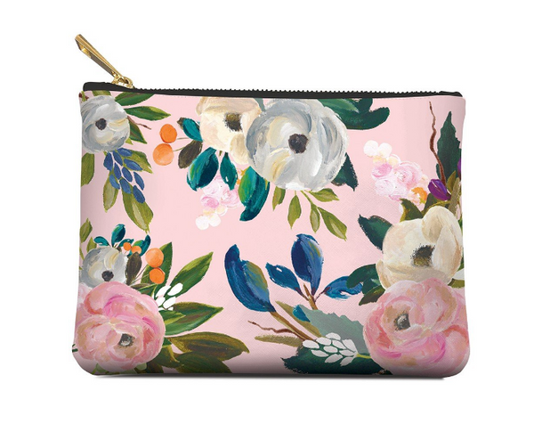 "Studio Oh! Bella Flora Zippered Pouch Made of textured faux leather material 7.5""w x 5.5""h"
