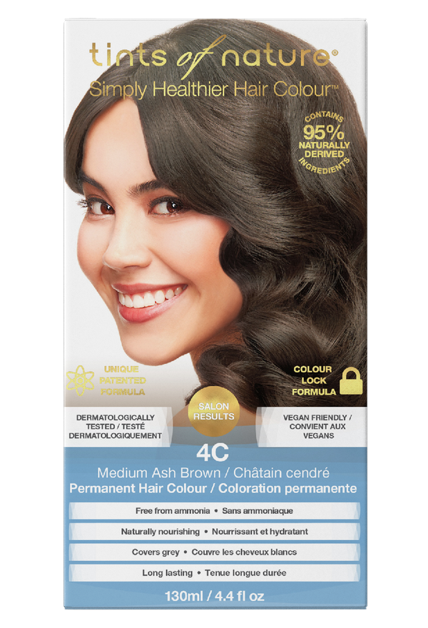 Tints of Nature Natural Medium Ash Brown Hair Dye - 4C - Free of Ammonia Vegan Friendly
