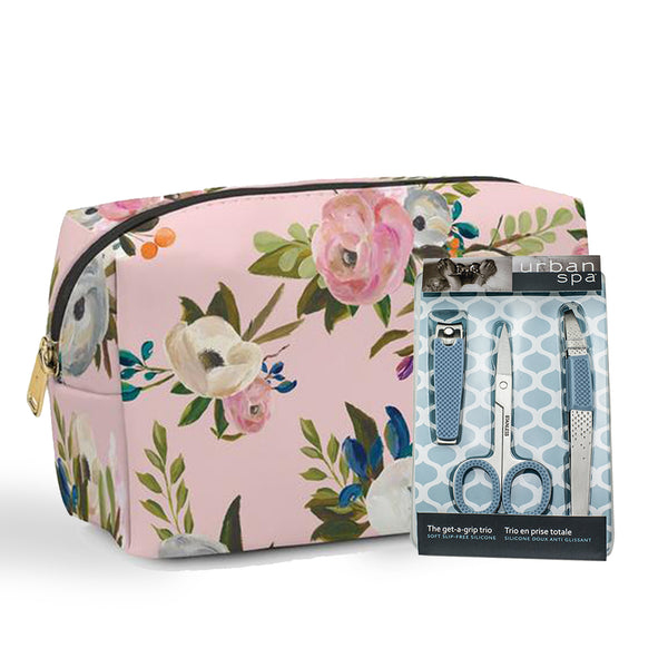 Exquisite Floral Makeup Bag + Nail Care Trio