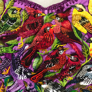Huipil Purple background Very detailed birds
