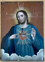 Load image into Gallery viewer, Sacred Heart of Jesus Painted on Tin 19th Century