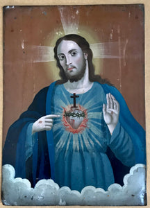 Sacred Heart of Jesus Painted on Tin 19th Century