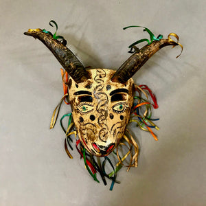 Carved Wood Chivo Mask with Natural Horns