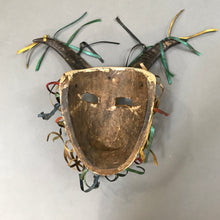 Load image into Gallery viewer, Carved Wood Chivo Mask with Natural Horns