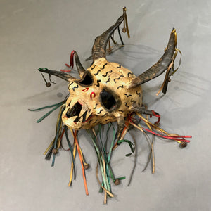 Leather Skull Mask w. Real Horns