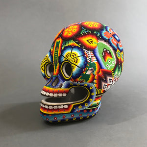 Huichol Beaded Skull Beaded on Ceramic Base