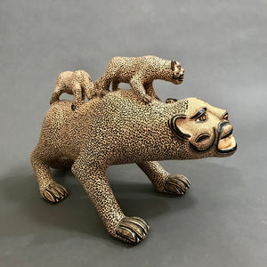 Standing Jaguar with 2 Cubs on Back
