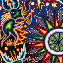 Load image into Gallery viewer, Yarn Painting- Peyote/sun in the middle, with green peyote button