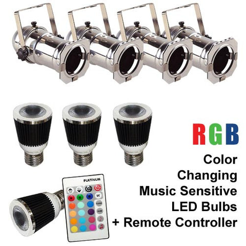 4x Music LED Color Changer Lamp With Wireless Remote and 4 Silver PAR16 CANS