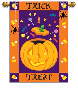 "Load image into Gallery viewer, ""Halloween Treats"" Applique Seasonal House Flag; Polyester 29""x42"""