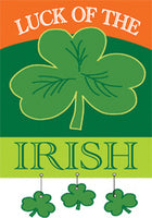 "Load image into Gallery viewer, ""Luck of the Irish"" Applique Seasonal House Flag; Polyester"