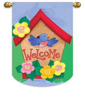 "Load image into Gallery viewer, ""Welcome Birdhouse"" Printed Seasonal House Flag; Polyester"