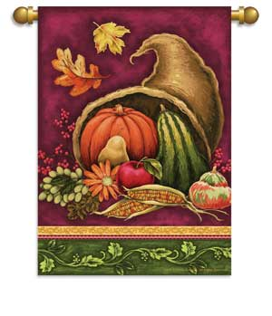 "Load image into Gallery viewer, ""Harvest Celebration"" Printed Seasonal House Flag; Polyester 29""x42"""