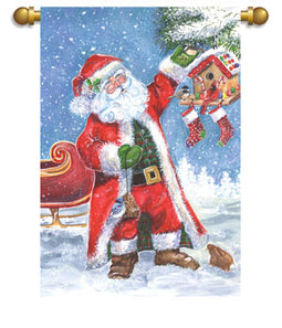 """Santas Stop"" Printed Seasonal House Flag; Polyester"