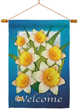 "Load image into Gallery viewer, ""Blooming Daffodils"" Printed Seasonal House Flag; Polyester"