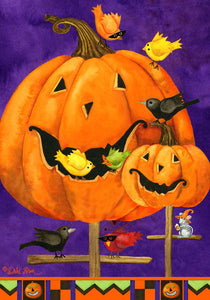 Pumpkin Birdhouse Printed Seasonal House Flag; Polyester