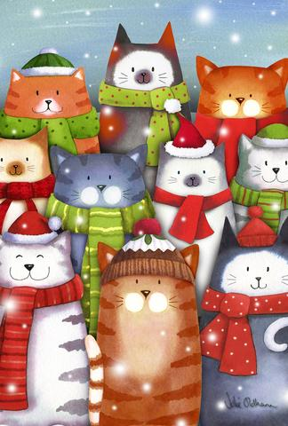 "Load image into Gallery viewer, ""Winter Cat Caroling"" Printed Seasonal House Flag; Polyester"