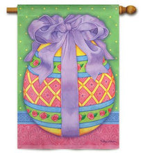 "Load image into Gallery viewer, ""Eggtraordinary"" Printed Seasonal House Flag; Polyester"