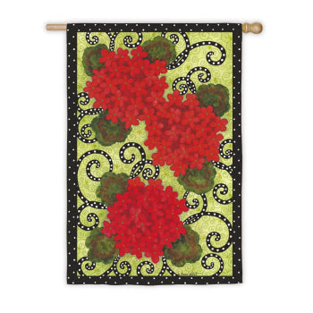 "Load image into Gallery viewer, ""Geranium Polka Dot"" Printed Seasonal House Flag; Polyester"