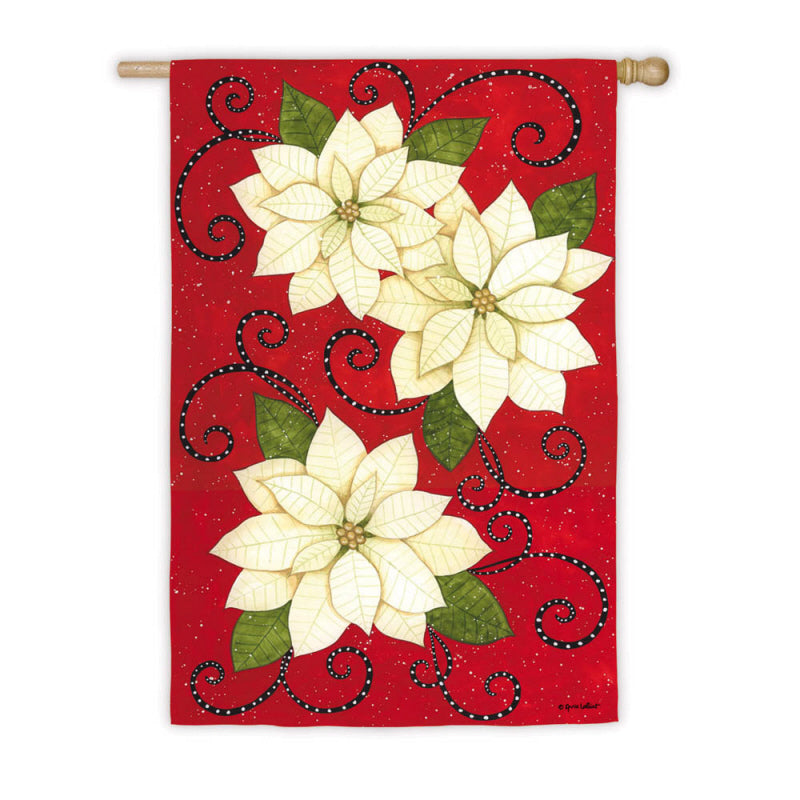 "Load image into Gallery viewer, ""Poinsettia Polka Dots"" Printed Seasonal House Flag; Polyester"